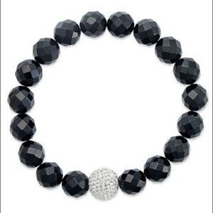 Onyx bracelet, faceted onyx beaded bracelet